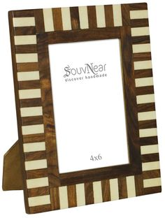 4x6 inches brown u0026 white picture frame in bulk wholesale handmade stripes pattern photo frame
