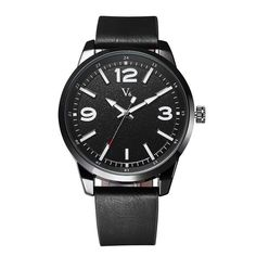 V6 Mens Luxury Leather Strap Analog Casual Sport Watch