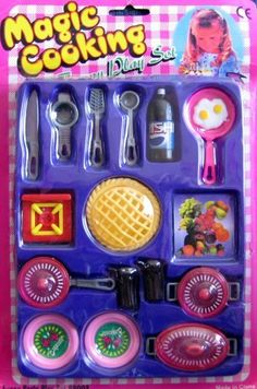 """MAGIC COOKING FUNNY PLAY & PARTY Play Set For Barbie & 11.5"""" Fashion Dolls by Made in China. $69.99. CONTENTS: pink Top Frying Pan, 2 Sunny Side Up Eggs (in Pan), Platter w/Fruit decal on top surface, a red Hot Plate Burner, Knife, Serving Fork, Strainer, Ladle, Large Bottle of Soda, Pie Crust w/Lattice Top, gray Pots w/red & white Lids, Roaster w/red & white Lid, 2 Plates, 2 pretend Drinking Glasses.. Magic Cooking Funny Play Set, Funny Party Play Set. NO Date on pac..."""