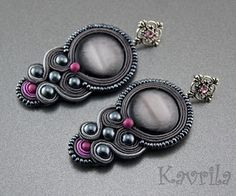 K Avril - Jewellery author. soutache Grey Stone Soutache Earrings. length 8.5cm