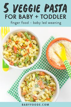 This Easy-Peasy 5 Veggie Pasta is a nutritious and flavorful meal for baby and toddler! Great for baby-led weaning or the finger food stage! finger foods Easy-Peasy 5 Veggie Pasta for Baby + Toddler - Baby Foode Healthy Baby Food, Healthy Toddler Meals, Toddler Lunches, Toddler Dinners, Toddler Friendly Meals, Toddler Food, Baby Pasta, Baby Food Recipes, Healthy Recipes