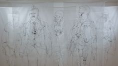 """""""Crowd Cloud"""" a group of lifesize stitched drawings of commuters heading for the station."""