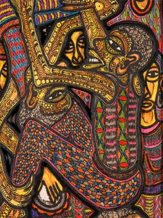 Acrobats by Twins Seven-Seven (1944- 2011), Oshogbo, Nigeria 2007. Oil, acrylic, ink and pastel on plywood