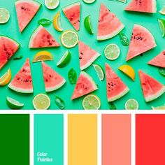 bright green, bright red, bright yellow, color of lime, color of watermelon, color selection, color solution for home, coral, emerald, saturated light green, warm orange, warm yellow, watermelon, watermelon pulp color.
