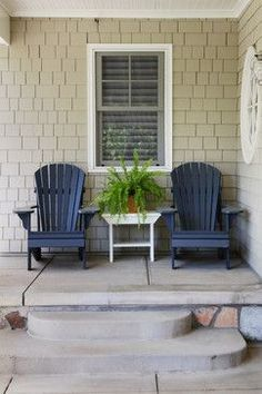 House Exterior Paint Colors Design, Pictures, Remodel, Decor and Ideas exactly what I have or could have. Not the exact color but Richmond Gray by Benjamin More maybe close. Exterior Paint Colors, Exterior House Colors, Beige House Exterior, Exterior Design, Outdoor Chairs, Outdoor Decor, Adirondack Chairs, Outdoor Ideas, Outdoor Spaces