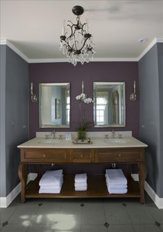 Beautiful...  Purple wall-Dark Basalt/BM and Grey wall-Deep Space/BM