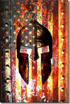 MAGNET LARGE Spartan Helmet Shaped USA Flag gun molon distressed american