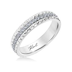 Karl Lagerfeld Double Pyramid Diamond Wedding Band ($3,250) ❤ liked on Polyvore featuring jewelry, rings, yellow ring, pyramid rings, diamond wedding rings, yellow diamond rings and wedding band rings