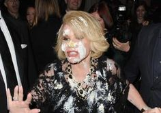 "Joan Rivers, covered in cake.  Maybe she'll find it has advantageous properties for skin, & have her formulators work on it, coming up with a new skin care cream for her skin care line...  something along the lines of ""Cake to the Face - Don't get me started""!"