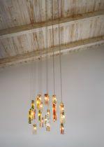 Pendant lamp / contemporary / glass / square