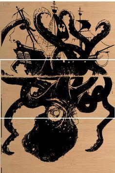 Nautical Octopus Pirate Ship Wall Art / Kraken / Octo / Beach Home Decor Wood Screen Print Tropical Home Decor, Coastal Decor, Pirate Ship Tattoos, Kraken Tattoo, Navy Tattoos, Beach Interior Design, Octopus Tattoo Design, Pirate Decor, Octopus Art