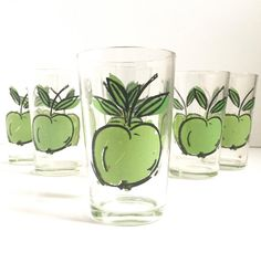 Drinking glasses set 6 Green Apple Glass kids juice glasses vintage kitchen kitsch retro Funky Camper Gear, Camper Kitchen Cups