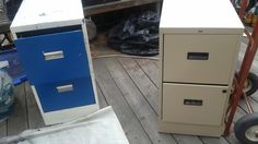 Before: mismatched ugly file cabinets