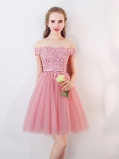 A-Line Appliques Sleeveless Sashes Off-the-Shoulder Short Homecoming Dress