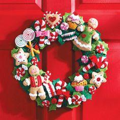 Coronas de navidad en fieltro