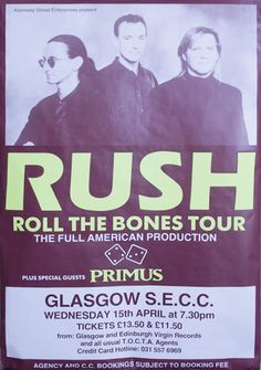 Rush Roll The Bones Tour Concert Poster UK poster Rush Music, Live Music, Tour Posters, Band Posters, Festival Posters, Concert Posters, Rush Concert, Rush Band, Greatest Rock Bands