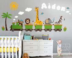 Personalized Jungle Safari Animals Train HUGE Wall Decal Set Monkey Zebra Giraffe Elephant Lion Nursery Kids Playroom Room Sticker by styleywalls on etsy