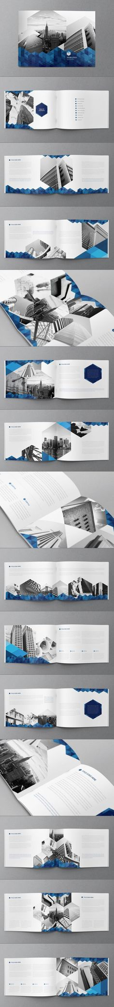 Love the blue carry though in this segement. High contrast layout works very well. Possibly distracts from text but draws in veiwers initially -Blue Hexo Brochure by Abra Design, via Behance Mise En Page Portfolio, Portfolio Design, Web Design, Layout Design, Corporate Design, Brochure Indesign, Brochure Ideas, Design Brochure, Brochure Layout