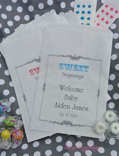 Baby Shower Candy Bags by abbey and izzie designs on Etsy,  #babyshower, #babyshowercandy, #candybuffetbags, #candybags, #candybarbags