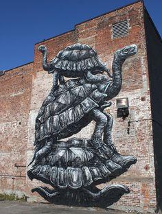 ROA balancing shells down at G40 #ROA #Streetart