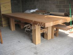 Oak Beam H Base Dining Table - Rustic Oak Furniture