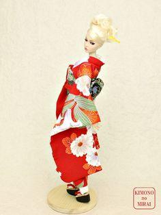 Free shipping! Japanese KIMONO dress,Barbie,Poppy Parker,FR NIPPON Red Furisode #KIMONOnoMIRAI