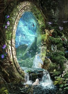 The fairies slipped through the magic portal on gossamer wings  held aloft by magical moonbeams.  lmw