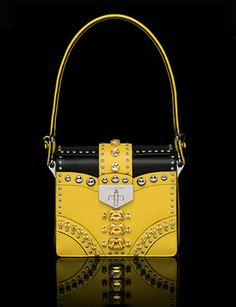 PRADA Saffiano Leather Flap Bag with Metal Studs and Stones