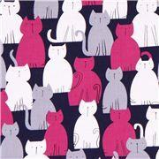 Tissu Michael Miller Here Kitty Kitty bleu foncé, chats