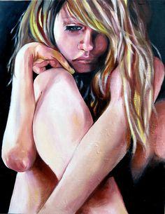 1. In dit beeld zie je een naakt meisje somber naar beneden kijken.  2. Je kunt afleiden aan haar gezichtsuitdrukking dat ze ergens mee zit, een strijd met zichzelf of met andere is niet duidelijk. Foordat ze naakt is geeft het een soort kwetsbaarheid aan. De kleur geel zit ook verwerkt in het beeld. Geel ziet er meestal vrolijk uit, maar de kleur geel staat hier symbool voor haat. Derest van de kleuren om haar heen zijn donker, dat geeft een grauwe uitstraling.