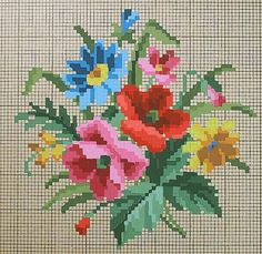 Wildflowers Bouquet * Handpainted Berlin Chart Cross Stitch Boards, Cross Stitch Heart, Cross Stitch Flowers, Needlepoint Patterns, Embroidery Patterns, Cross Stitch Patterns, Cross Stitch Cushion, Vintage Cross Stitches, Crafts To Do