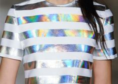 Iridescent and white striped tee.