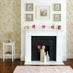 Living room with summery fireplace | Living room furniture | Decorating ideas | Image | Housetohome
