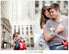 Chicago engagement session, Chicago potraits, downtown Chicago engagement session, Vespa engagement session, portrait session with a scooter...