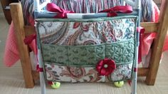 Walker bag / caddy made from 3 placemats, ribbon and a zipper.
