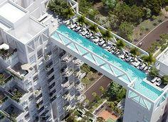 Piscina liga um edifício a outro - Cingapura