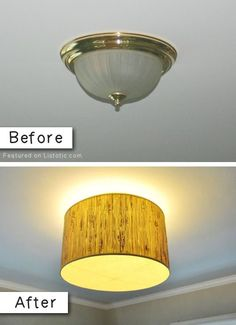 #9. Update an old light fixture with a drum lamp shade -- 27 Easy Remodeling Projects That Will Completely Transform Your Home