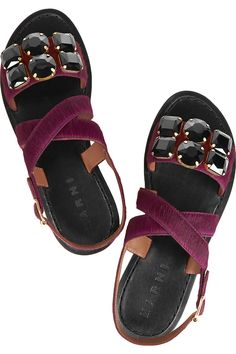 Marni|Embellished calf hair sandals|NET-A-PORTER.COM