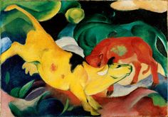 Franz Marc: Kühe, gelb-rot-grün, 1912