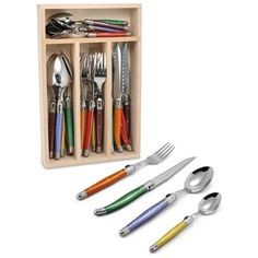 Laguiole Debutant Andre Verdier 24 Piece Cutlery Set Mirror Polished Multicoloured