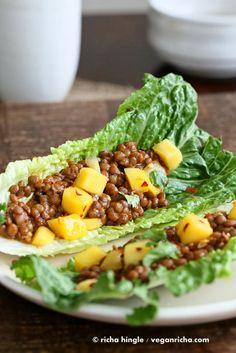 Sweet and Sour Lentils and Mango Lettuce Wraps. Vegan Glutenfree Recipe - Vegan Richa - Used red lentils instead Vegan Foods, Vegan Dishes, Vegan Vegetarian, Vegetarian Recipes, Vegan Meals, Raw Food Recipes, Vegetable Recipes, Healthy Recipes, Vegan Gluten Free