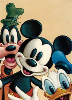 Mickey first appeared in Steamboat Willie in 1928, while Goofy started playing for laughs in 1932, and Donald added fuel to the fun in 1934.