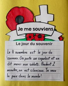 SI facile à trouver des idées tout de suite en écriture!                                                                                                                                                                                 More French Teaching Resources, Teaching French, Remembrance Day Activities, Communication Orale, Hanukkah Crafts, French Education, Core French, French Immersion, French Language Learning