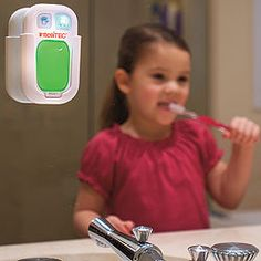 Timer for hand washing sec) or teeth brushing min). Light is green to go and blinks red when you can stop. I don't think this should be just marketed for kids. Sometimes we could all use the 2 minute timer for brushing teeth. Gadgets, Brave, Wash Brush, Baby Fever, Future Baby, My Children, Parenting Hacks, Cool Kids, Little Ones
