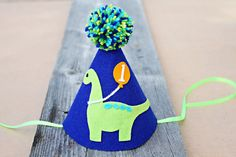 Boys 1st BIrthday Party Hat Dinosaur Birthday Hat by LaLaLolaShop