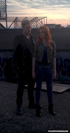 BTS picture of the Promotional photoshoot #shadowhunters #clace (Kat McNamara and Dom Sherwood)