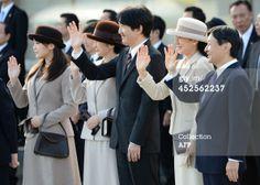News Photo: Japanese royal family members Princess Mako Princess Kiko, Prince Akishino, Crown Princess Masako and Crown Prince Naruhito, see the plane on which Emperor Akihito and Empress Michiko take off for New Delhi, India
