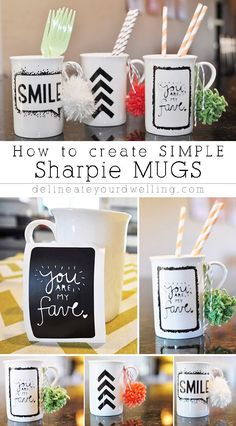 Sharpie Mug Art made with vinyl stencils cut with the Silhouette CAMEO or…