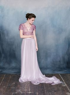 The Ophelia dress features a French lace top and showcases a stunning long train and is made of different shades of purple crepe backed satin to compliment the French silk tulle. Colored Wedding Dress, Two Piece Wedding Dress, Purple Wedding, Lavender Wedding Dress, Fall Wedding, A Line Bridal Gowns, Wedding Gowns, Wedding Shoes, Romantic Lace