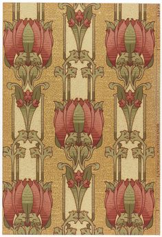 Sidewall wallcovering sample with stylized floral stripe; red flowers on off-white stripe, printed on mottled tan ground. US, 1906–08